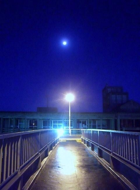 歩道橋と月