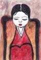編み物をする女靉光