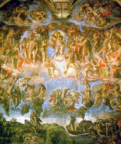 最後の審判ミケ503px-Michelangelo_-_Fresco_of_the_Last_Judgement[1]