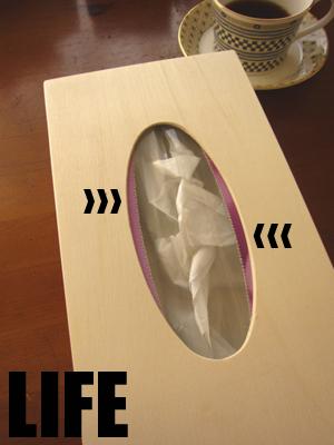 セリアの木製テッシュケース