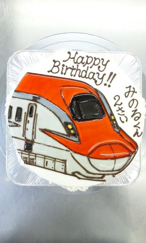 東北新幹線e6系 スーパーこまち のイラストケーキ ケーキはキャンバス ここまで描ける