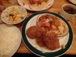 虎ノ門 ビストロ ダヴ Aランチ(牛肉のトマト煮ボルシチ風+ヒレカツ+ポテトコロッケ)(2012/11/12)