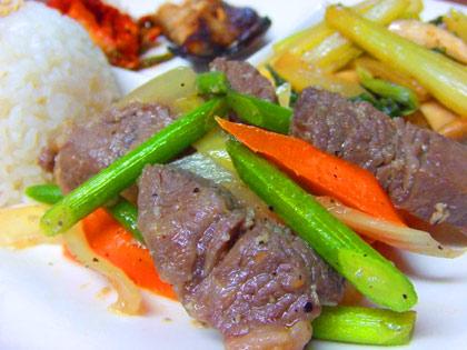 塩麹で牛肉&野菜炒め
