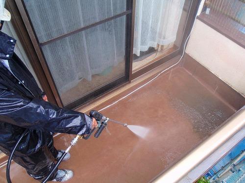 04 バルコニー床高圧洗浄
