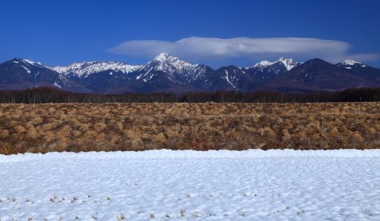 水田と南八ヶ岳と青空の雲