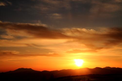御岳・乗鞍の夕景