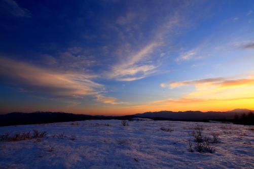 御岳・中央アルプス・南アルプスの落日