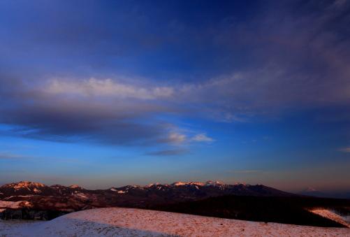 夕照の富士と八ヶ岳