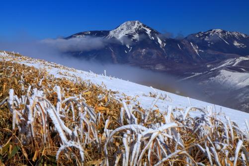 霧わく蓼科山と横岳