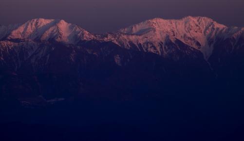 赤石岳と荒川岳夕景