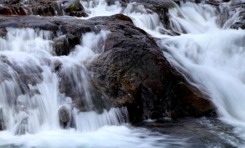溶岩を縫って流れる渓流