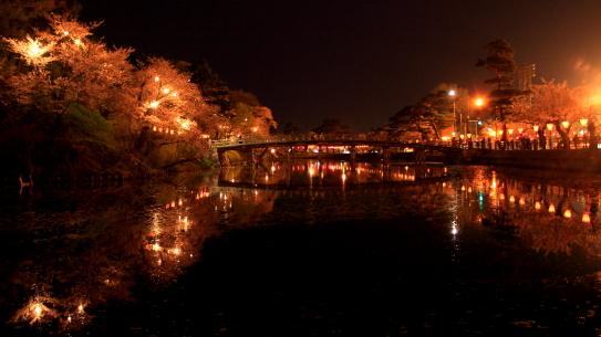 お堀の夜景
