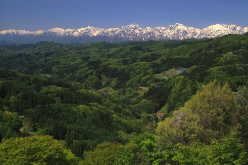 大望峠展望台から見る北アルプスの大観