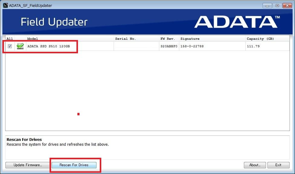 adata ssd ファームウェア アップデート 方法