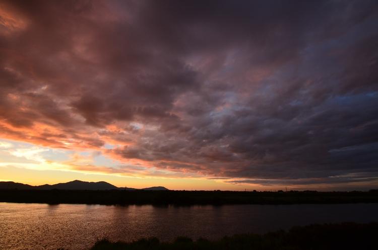 フェーン現象の夕陽-4