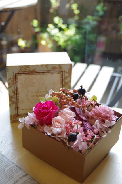 グリーンBOX+ピンク花p