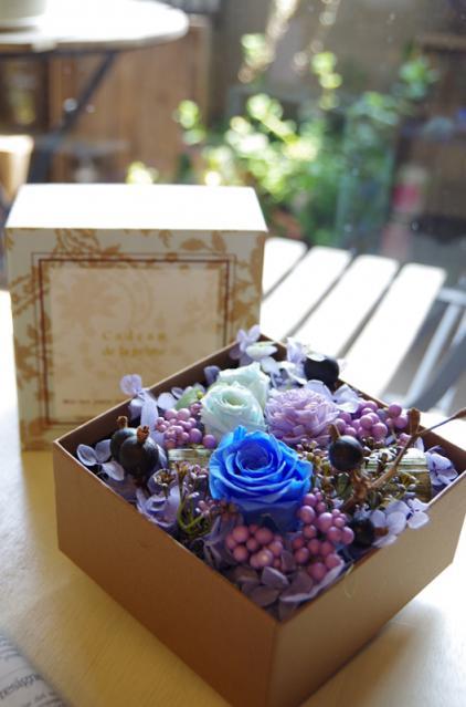 グリーンBOX+ブルー花p