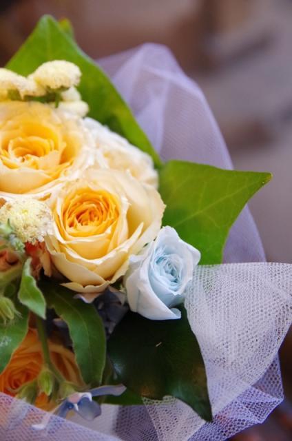 2013.6ジューンブライドに♪ミニブーケ(おしゃれな花器とプリザのブートニア付き)p4