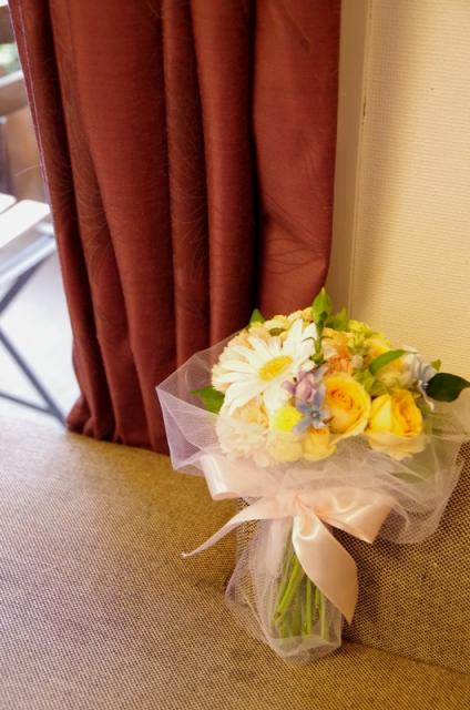2013.6ジューンブライドに♪ミニブーケ(おしゃれな花器とプリザのブートニア付き)p9