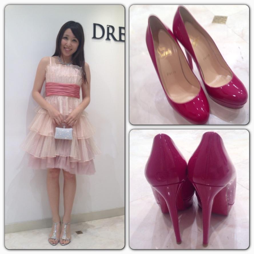 赤のパンプスは女子の憧れ、ルブタン!!! このピンクのドレス合いそう!靴も違うだけで印象も全然違いますね♪