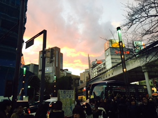 an evening twilight in ginza