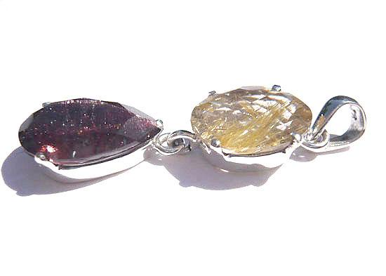 ゴールドルチル&スーパーセブン ペンダント 天然石 パワーストーン silver 925 32