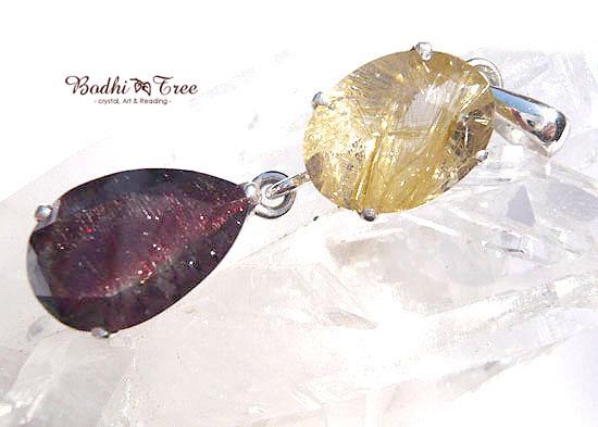 ゴールドルチル&スーパーセブン ペンダント 天然石 パワーストーン silver 925 65