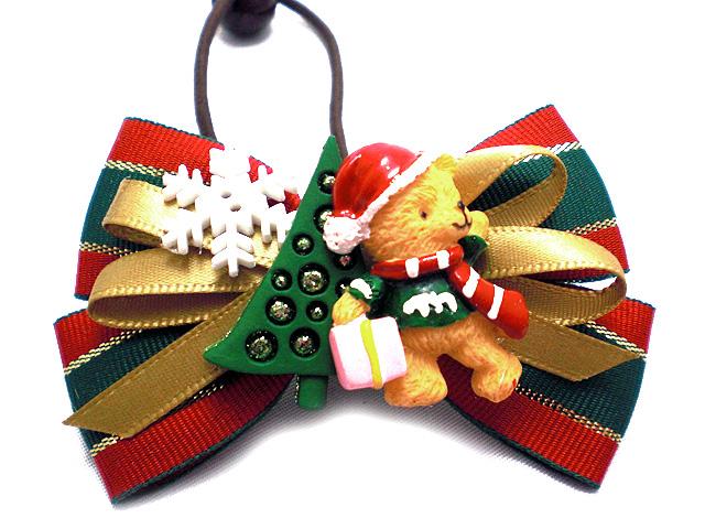 リボンへアゴム クリスマスベア
