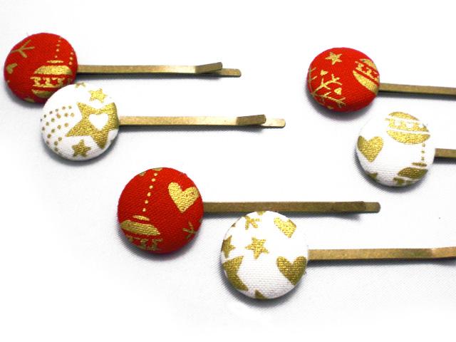 くるみボタンへアピン クリスマスオーナメント