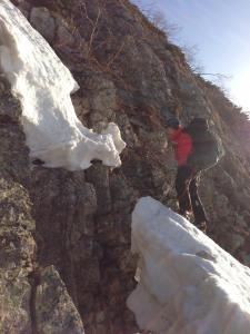 第一岩峰ルンゼ取り付き