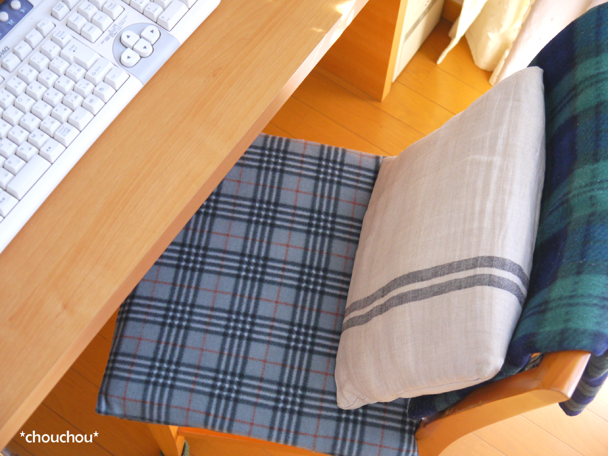 グレー フリース 椅子座布団カバー
