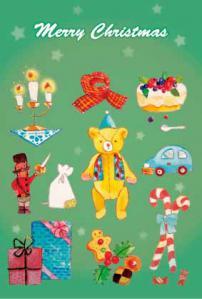 クリスマスポストカード2緑