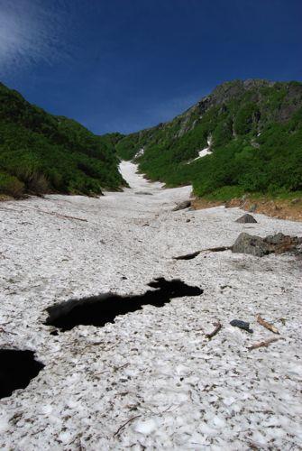 6大樺沢の雪渓