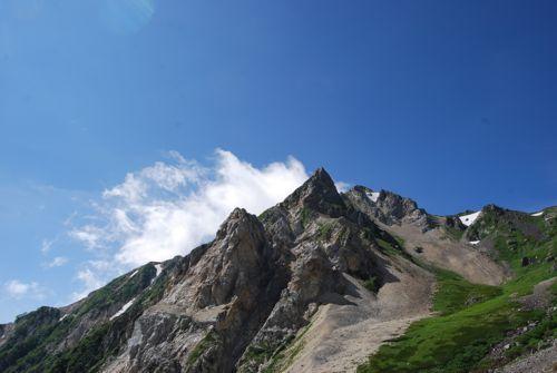 4大雪渓から見た杓子岳