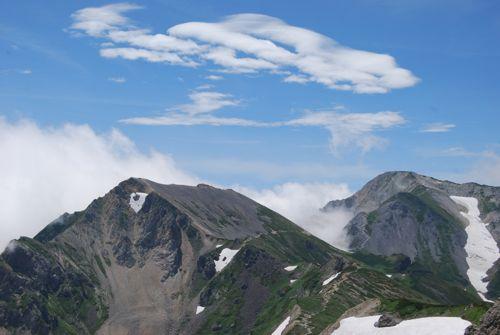 7白馬岳からの杓子と鑓