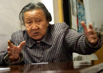 南京大屠杀幸存者李秀英老人。