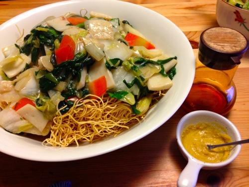 3伊府炸麺お酢とカラシ