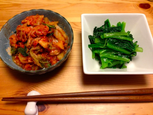 1小松菜のナムルとポッサムキムチ