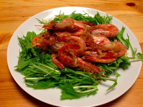 1甘エビと水菜のサラダ