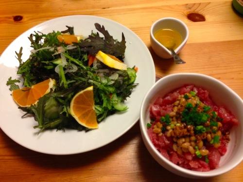 1サラダ&マグロ納豆