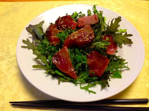 1わさび菜と鰹のサラダ