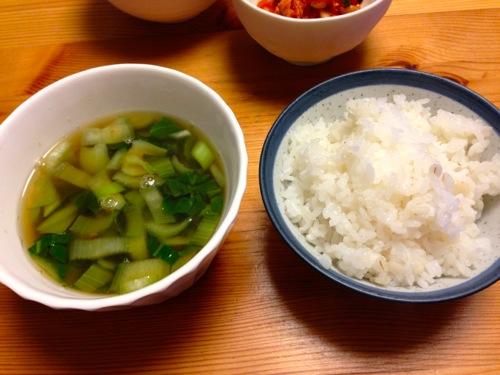 5麦飯とチンゲン菜の味噌汁