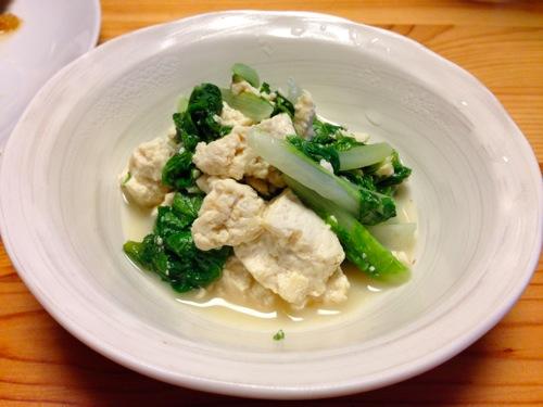 3山東菜と豆腐の胡麻炒め