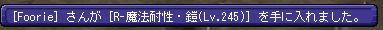 [Foore] さんが [R-魔法耐性・鎧(Lv.245)] を手に入れました。