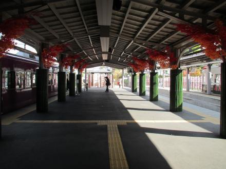 嵐電嵐山駅ホーム