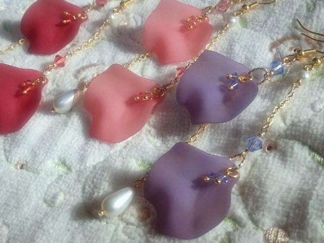 薔薇花弁アシンメトリーピアス2