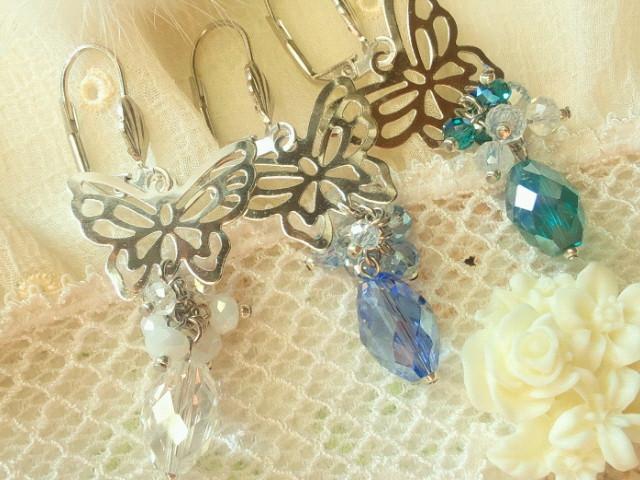 蝶とカットガラスのしゃらんらフレンチフックピアス2
