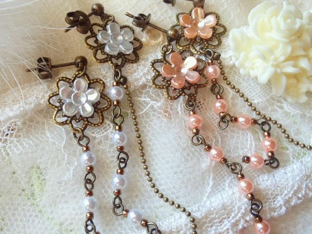 座金とパール花のピアス2