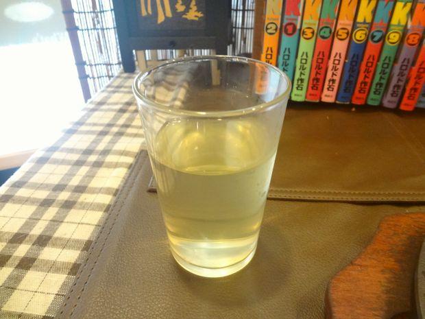 『お好み鉄板 炎屋』お冷はレモン水