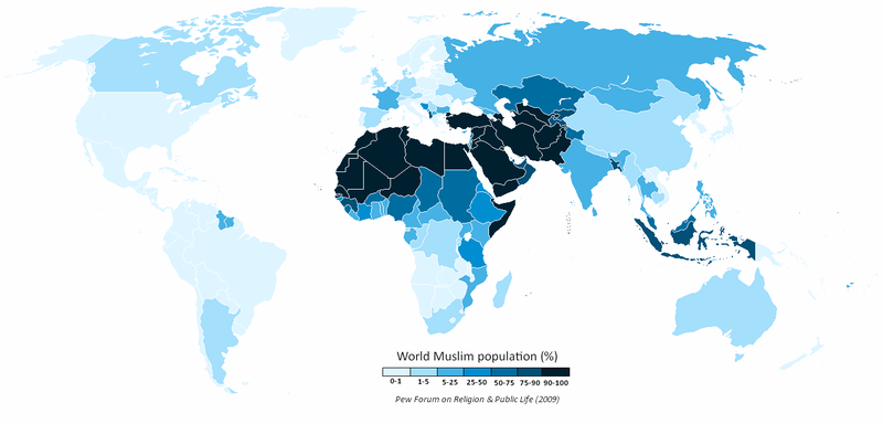 World_Muslim_Population_Pew_Forumイスラ・ム次男教に取り囲まれたイスラ・エル三男教